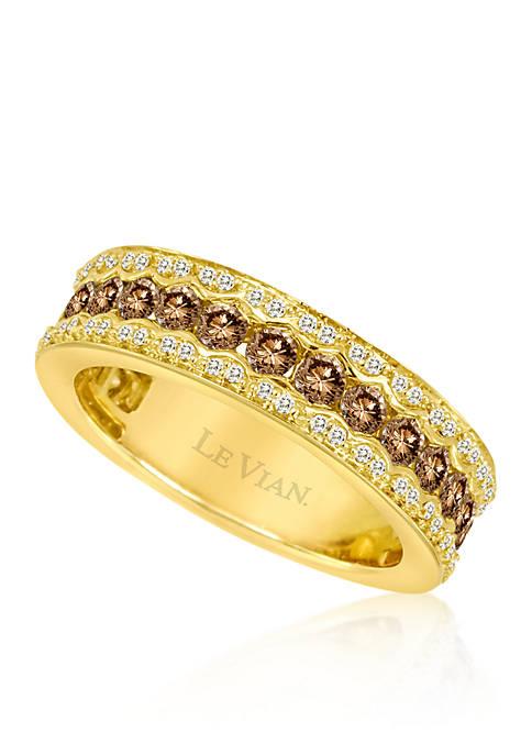 Chocolate Diamond® and Vanilla Diamond® Band in 14k Honey Gold™