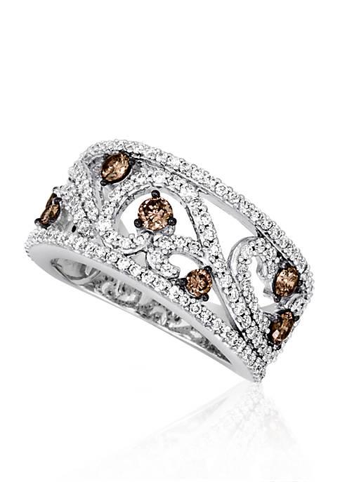 Vanilla Diamond® and Chocolate Diamond® Ring in 14k Vanilla Gold®