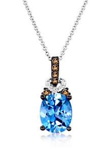 3/4 ct. t.w. Ocean Blue Topaz™, 0.04 ct. t.w. Vanilla Diamonds®, and 1/10 ct. t.w. Chocolate Diamonds® Pendant Necklace in 14k Vanilla Gold®