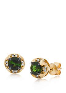 9/10 ct. t.w. Hunters Green Tourmaline™ and 0.06 ct. t.w. Vanilla Diamonds® Earrings in 14k Honey Gold™