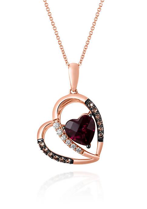 Raspberry Rhodolite®, Chocolate Quartz®, and Vanilla Diamond® Heart Pendant in 14k Strawberry Gold®