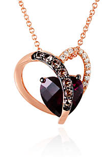 Le Vian® Raspberry Rhodolite®, Chocolate Quartz®, and Vanilla Diamond® Pendant in 14k Strawberry Gold®