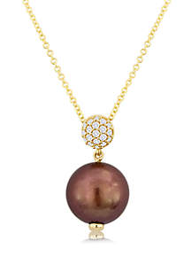 Chocolate Pearl® and 1/10 ct. t.w. Vanilla Diamonds® Pendant Necklace in 14k Honey Gold™