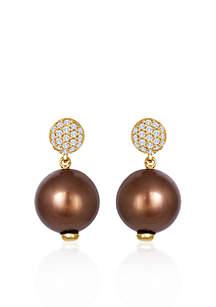 14k Honey Gold™ Tahitian Chocolate Pearl® and Vanilla Diamond™ Earrings