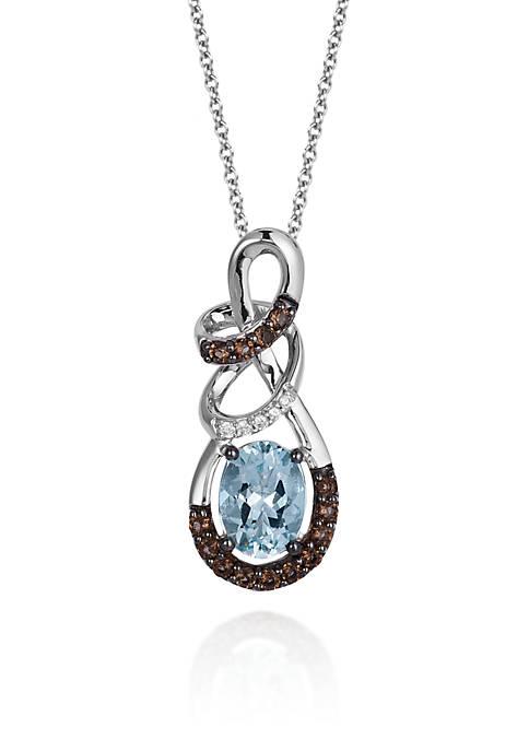 14k Vanilla Gold® Sea Blue Aquamarine®, Chocolate Quartz®, and Vanilla Diamond® Pendant