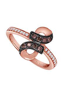 Chocolatier® 1/6 ct. t.w. Chocolate Diamonds® and 1/10 ct. t.w. Vanilla Diamonds® Ring in 14k Strawberry Gold®