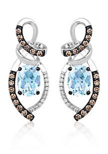 Le Vian Sea Blue Aquamarine Vanilla Diamonds And Chocolate Chocolatier Drop Earrings