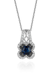 Blueberry Sapphire™ and Vanilla Diamond® Pendant in 14k Vanilla Gold®