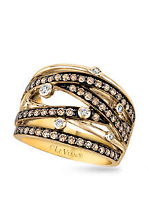 Le Vian Chocolatier Vanilla and Chocolate Diamonds Ring in 14k Honey Gold