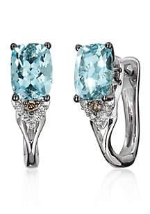 Sea Blue Aquamarine, Vanilla Diamonds, and Chocolate Diamonds Earrings in 14k Vanilla Gold