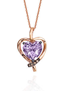 Cotton Candy Amethyst and Chocolate Diamonds Heart Pendant Necklace in 14k Strawberry Gold