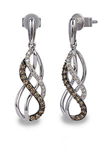 Chocolatier® Gladiator Weave™ 1/4 ct. t.w. Chocolate Diamonds® and 1/10 ct. t.w. Vanilla Diamonds® Earrings in 14k Vanilla Gold®