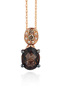 14k Strawberry Gold® Chocolate Quartz®, Chocolate Diamond®, and Vanilla Diamond® Pendant