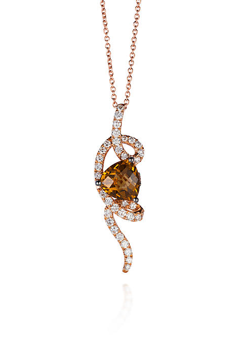 14k Strawberry Gold® Caramel Quartz®, Vanilla Diamond®, and Chocolate Diamond® Weave Pendant
