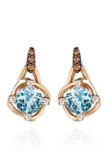Sea Blue Aquamarine, Vanilla Diamonds, and Chocolate Diamonds Drop Earrings in 14k Strawberry Gold