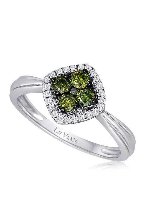 Exotics® 1/4 ct. t.w. Kiwiberry Green Diamonds™ and 0.07 ct. t.w. Vanilla Diamonds® Ring in 14k Vanilla Gold®
