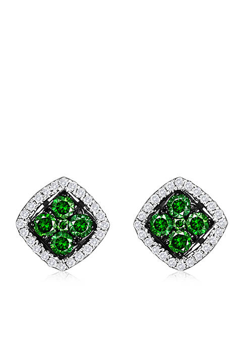 Exotics® 1/3 ct. t.w. Kiwiberry Green Diamonds™ and 1/8 ct. t.w. Vanilla Diamonds® Stud Earrings in 14k Vanilla Gold®