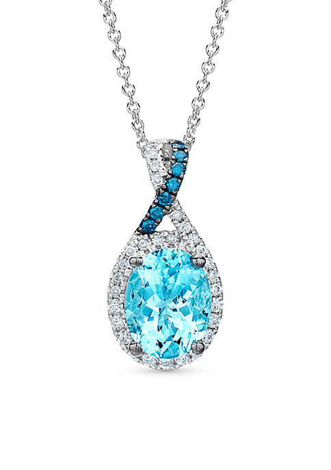 Le Vian Exotics® Sea Blue Aquamarine® Pendant Necklace in 14k Vanilla Gold®