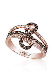 Chocolate Diamond® and Vanilla Diamond® Ring in 14k Strawberry Gold®