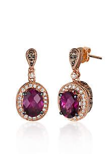 Le Vian® 14k Strawberry Gold® Raspberry Rhodolite®, Chocolate Diamond®, and Vanilla Diamond® Earrings