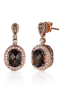 14k Strawberry Gold® Chocolate Quartz®, Chocolate Diamond®, and Vanilla Diamond® Earrings