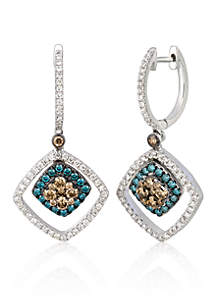 Le Vian® Chocolate Diamond®, Iced Blueberry Diamond®, and Vanilla Diamond® Earrings in 14k Vanilla Gold®