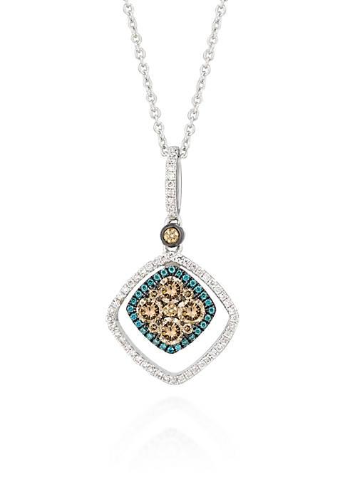 Chocolate Diamond®, Vanilla Diamond®, and Iced Blueberry Diamond® Accent Pendant in 14k Vanilla Gold®