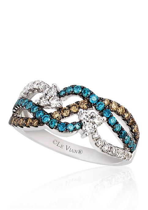 Vanilla Diamond®, Chocolate Diamond® and Iced Blueberry Diamond® Ring in 14k Vanilla Gold®