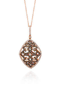 Chocolate Diamond® and Vanilla Diamond® Pendant in 14k Strawberry Gold®