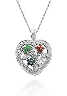 Rhodium Plated Genuine Diamond Accent Ruby, Emerald, & Sapphire Floral Motif Heart Pendant Set in Sterling Silver