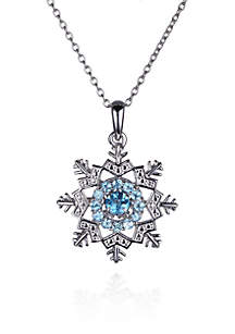 Sky Blue Topaz Snowflake Pendant in Rhodium Plated Sterling Silver