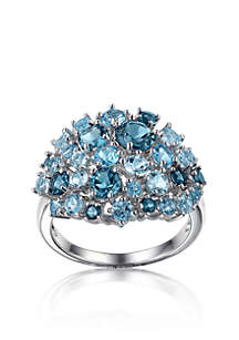 Sterling Silver Rhodium Plated Genuine London Blue, Sky Blue, & Swiss Blue Topaz Cluster Ring