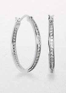 Platinum Plated Sterling Silver Cubic Zirconia Hoop Earring