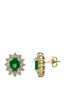 Effy® 1.41 ct. t.w. Diamond and 2.28 ct. t.w. Natural Emerald Earrings in 14k Yellow Gold