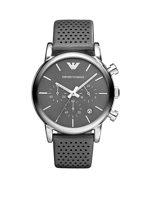 Mens Silver-Tone Stainless Steel and Leather Chronograph Watch