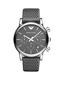 Men's Silver-Tone Stainless Steel and Leather Chronograph Watch