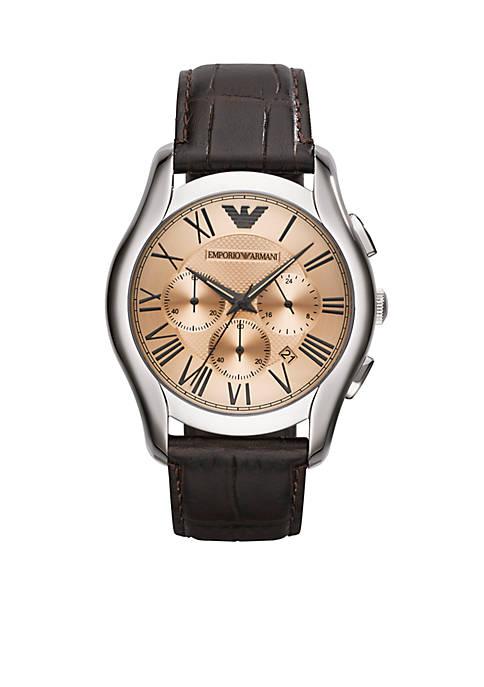 Emporio Armani® Mens Dark Brown Croco Leather Strap