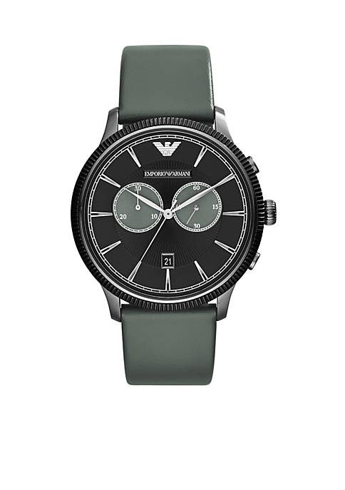 Emporio Armani® Mens Grey Leather Strap Chronograph Watch