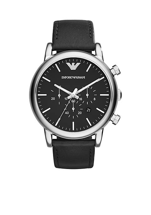 Emporio Armani® Mens Black Leather Strap Chronograph Watch