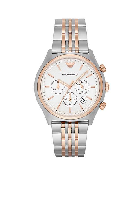 Emporio Armani® Mens Zeta Two-Tone Chronograph Watch