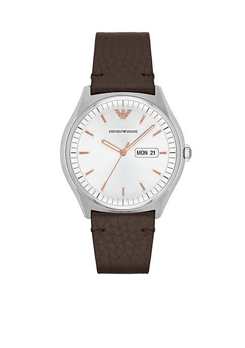 Emporio Armani® Mens Zeta Brown Leather Watch