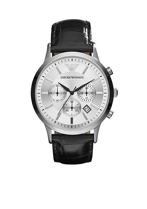Emporio Armani® Mens Black Leather and Silver-Tone Stainless