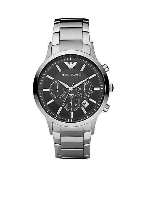 Emporio Armani® Mens Stainless Steel Round Black Chronograph