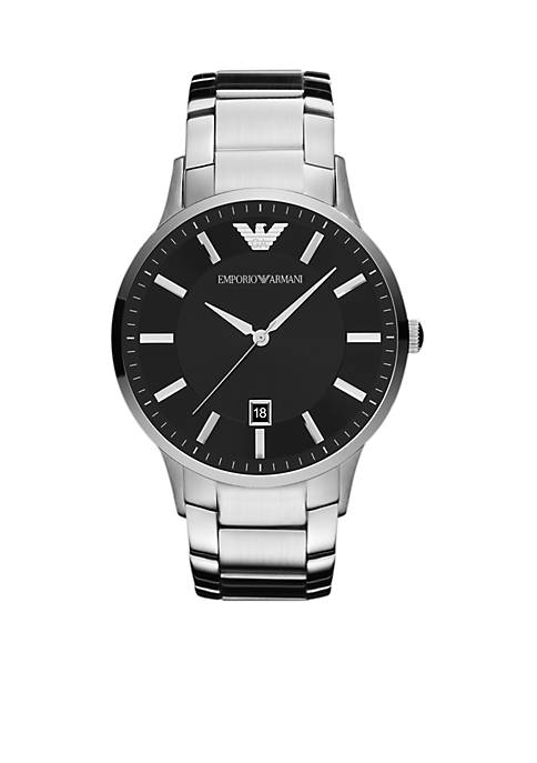 Emporio Armani® Mens Silver-Tone Stainless Steel Three-Hand Watch