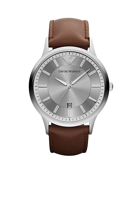 Mens Brown Leather and Silver-Tone Stainless Steel Three-Hand