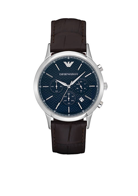 Emporio Armani® Mens Renato Automatic Brown Leather Watch