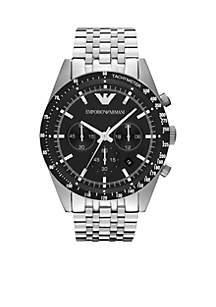 Men's Silver-Tone Stainless Steel Chronograph Watch