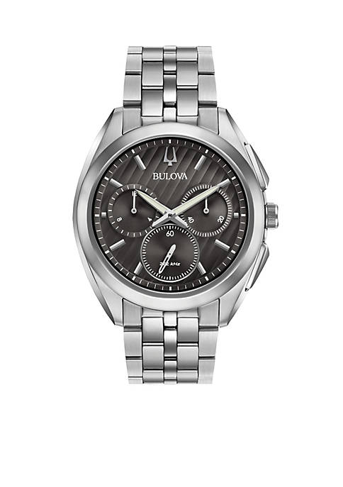 Bulova Mens Silver-Tone Curv Watch