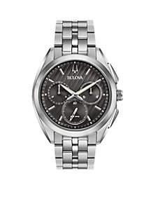 Men's Silver-Tone Curv Watch