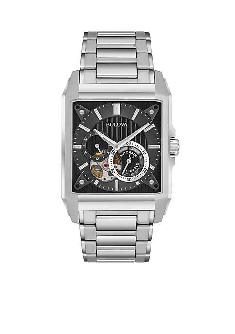 Bulova Mens Silver-Tone Automatic Watch